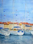 """""""Cap d'Agde"""", aquarelle sur papier, 40x50cm"""