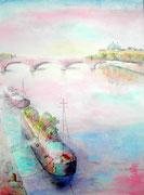 """""""Lyon, quai de Rhône"""", aquarelle sur papier"""