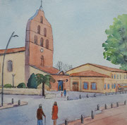 Eglise de Tournefeuille, aquarelle sur papier