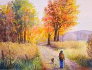 """""""Matin d'automne"""", aquarelle sur papier, 40x50cm"""