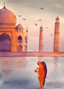 """""""Lever de soleil sur le Taj Maha""""l, aquarelle sur papier"""