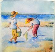 """""""Pêche aux crabes"""", aquarelle sur toile"""