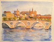 """""""Toulouse, le pont neuf"""", aquarelle sur papier, 40x50cm"""