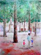 """""""Place Satonay, Lyon"""", aquarelle sur papier"""