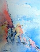 """""""Dans la tempête"""", aquarelle sur toile"""