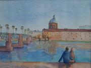 Toulouse, bord de la Garonne 2, aquarelle sur papier
