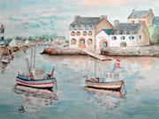 """""""Port de Doëlan, Bretagne"""", aquarelle sur papier"""