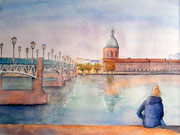 Toulouse, bord de la Garonne, aquarelle sur papier