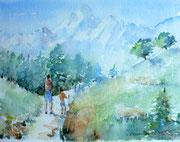 """""""En route vers le sommet"""", aquarelle sur papier"""