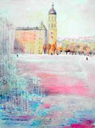 """""""Place Antonin Poncet, Lyon"""", aquarelle sur papier"""