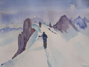 """""""Arrivée au sommet"""", aquarelle sur papier"""
