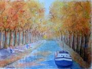 """Le Canal du Midi"", aquarelle"
