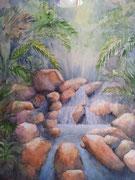 """""""Cascade tropicale"""", aquarelle sur toile"""
