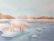 """""""La fonte des glaces"""", aquarelle sur papier"""