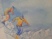 """'Dans la poudreuse 1"""", aquarelle sur toile"""