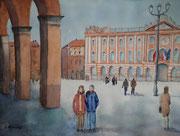 Toulouse, place du Capitole, aquarelle sur papier