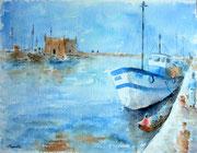 """""""Le port d'Essaouira"""", aquarelle sur papier, 40x50cm"""