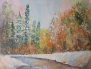 """""""Le lac gelée, aquarelle et gouache sur toile"""