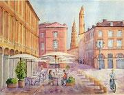 """""""Toulouse, pause café place du Capitole"""", aquarelle sur papier,"""