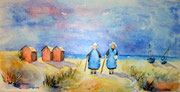 """""""Les bretonnes 2"""", aquarelle sur toile"""