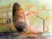 """""""Le hérisson sort de sa cachette"""", aquarelle sur papier, 40x50cm"""