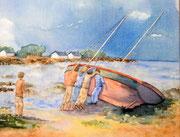 """""""Marée basse, après la tempête"""", aquarelle sur toile"""