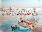 """""""Port de Mykonos, Grêce"""", aquarelle sur papier"""