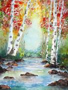 """""""Rivière d'automne"""", aquarelle sur papier"""
