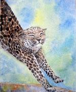 """""""Le réveil du guépard"""", aquarelle sur toile"""