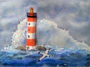 """""""Le phare dans la tempête"""", aquarelle sur papier, 40x50cm"""