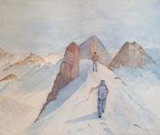 """""""Vers le sommet"""", aquarelle sur toile"""