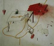 "De Toys: ""NOT IM LOT"", 1984 (Buntstiftzeichnung, DinA4)"
