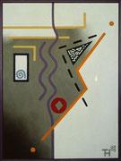 """De Toys: """"TRANSISTOR"""", 1988/89 (Dispersionsfarbe+Sand auf Hartfaserplatte, mit Scherbe)"""