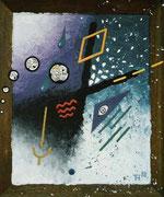 """De Toys: """"DIE ORGIE"""", 1988 (Dispersionsfarbe+Sand auf Hartfaserplatte, mit Murmel & Spiegelscherben)"""