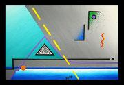 """De Toys: """"DIE ENTDECKUNG DES DUOISMUS"""", 1988 (Dispersionsfarbe+Sand auf Hartfaserplatte)"""