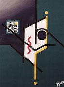 """De Toys: """"NOAM"""", 1987 (Dispersionsfarbe auf Hartfaserplatte)"""