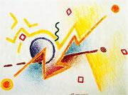 """De Toys: """"OHNE SCHWARZ"""", 1989 (Wachsmalstifte, DinA4)"""