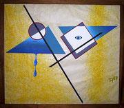 """De Toys: """"TREFFPUNKT MITTE"""", 1987 (Dispersionsfarbe auf Riesenpappe)"""