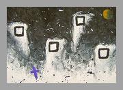 """De Toys: """"WINTANZ"""", 1988 (Dispersionsfarbe+Sand auf Hartfaserplatte)"""