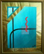 """De Toys: """"DAS GEISTIGE INTEGRAL (BHAKTI - Der Archetypus des Ewigen Du)"""", 1987 (Dispersionsfarbe auf Goldgrund)"""