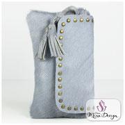 Designer Fell Clutch Tasche Handtasche clutch bag Cavallino Kuhfell Felltasche Abendtasche blau Smart Phone