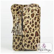 Designer Fell Clutch Tasche leo Leopard Handtasche clutch bag Cavallino Kuhfell Felltasche Abendtasche Smart Phone