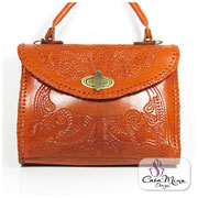 Luxus Designer Ledertasche Damen Handtasche Leder Schultertasche Messenger Shopper orange  Casa Mina Design