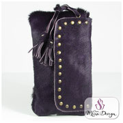 Designer Fell Clutch Tasche Handtasche clutch bag Cavallino Kuhfell Felltasche Abendtasche violett Smart Phone
