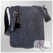Ledertasche Herren Umhänge Leder Taschen Schultertasche blau Casa Mina Design Messenger Blue