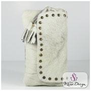 Designer Fell Clutch Tasche Handtasche clutch bag Cavallino Kuhfell Felltasche Abendtasche Weiß Smart Phone