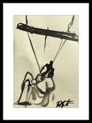 2017 Shibariabend 20.10.17-18 DinA4-Skizze gerahmt 30x40 cm  -verkauft-