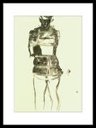 2017 Shibariabend 23.09.17-2 DinA4-Skizze gerahmt 30x40 cm -verkauft-