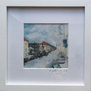 Höninger Weg bunte Häuser Fotoprint im Passepartout und Rahmen 25x25cm 30,-€