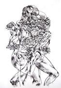"""""""Sans titre""""/fusain sur papier/100x70cm/2011."""